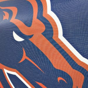 Blue & Orange Boise State Bronco Banner- Mesh Detail Shot