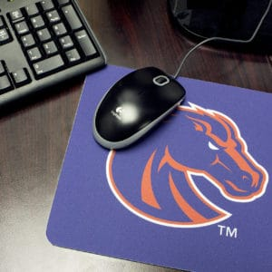 Desk with Blue & Orange Boise State Bronco Mouse Pad